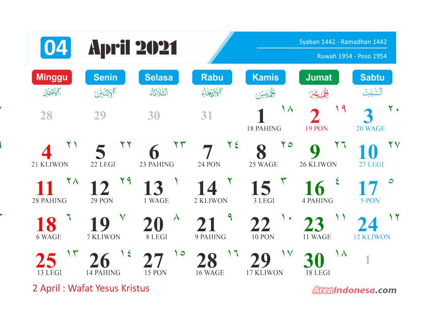 Kalender Bulan 8 2021 - Kalender April 2021