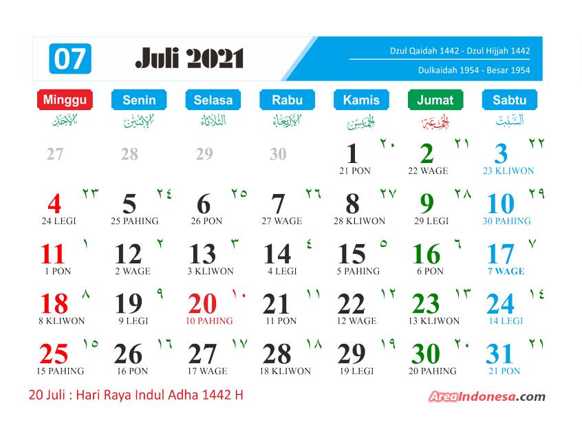 Kalender Bulan 7 2021 - Kalender Juli 2021
