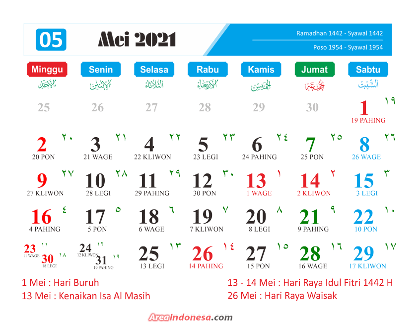 Kalender Bulan 5 2021 - Kalender Mei 2021